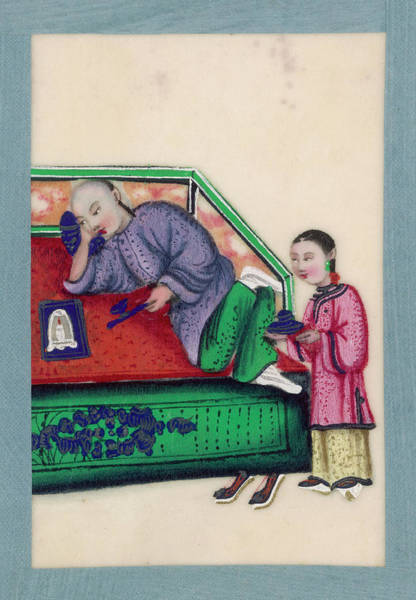 Wall Art - Drawing -  A Chinese Man Lies On A Bed by Mary Evans Picture Library
