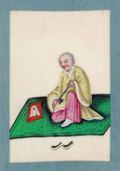 Mat Drawing -  A Chinese Man Sits Smoking On  A Mat by Mary Evans Picture Library
