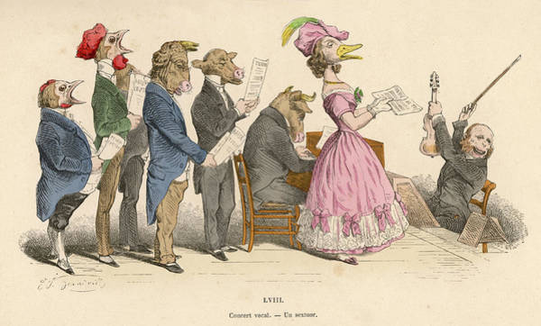 Wall Art - Drawing -  A Chorus Of Singers - But by Mary Evans Picture Library