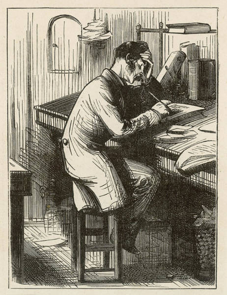 Wall Art - Drawing -  A Clerk At His Desk, Seated On A Stool by Mary Evans Picture Library