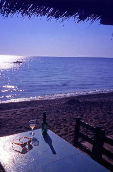 Taverna Photograph -  A Drink By The Sea At Skala Eressos by Steve Outram