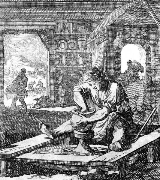 Potters Wheel Wall Art - Drawing -  A Dutch Potter Turns A Pot by Mary Evans Picture Library