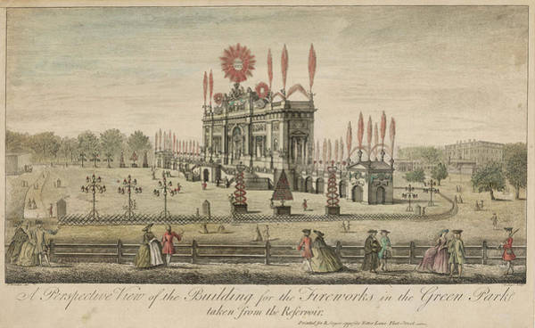 Fireworks Drawing -  A Fireworks Display At Green  Park by Mary Evans Picture Library