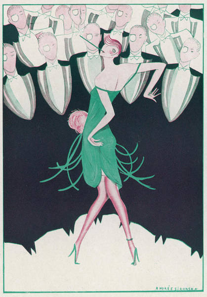 Flappers Drawing -  A Flapper In A Green Dress  Dances by Mary Evans Picture Library