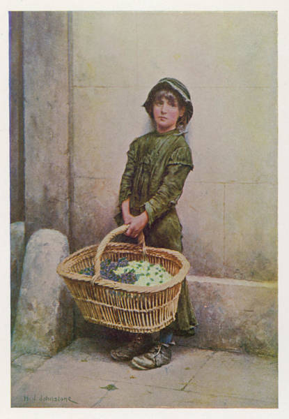 Wall Art - Drawing -  A Flower Girl With Her Basket by Mary Evans Picture Library