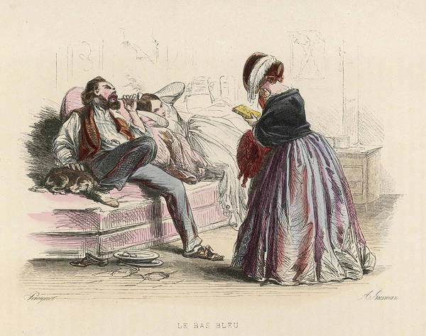 Wall Art - Drawing -  A French Blue-stocking Visits  A Man by Mary Evans Picture Library