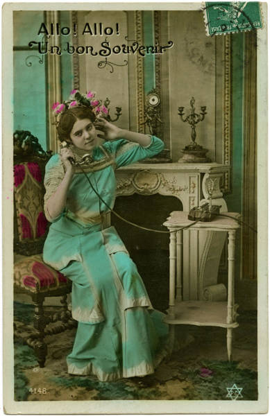 Wall Art - Photograph -  A French Lady On The Line         Date by Mary Evans Picture Library