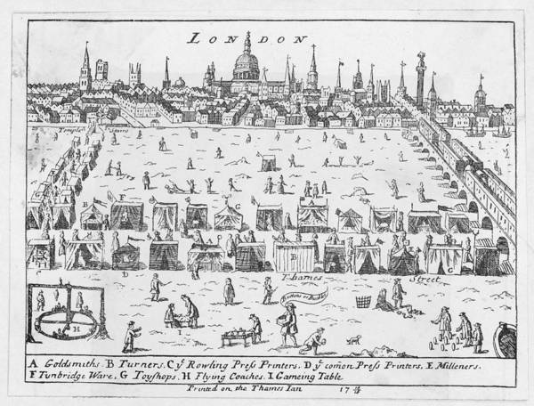 1715 Drawing -  A Frost Fair On The Thames  Which by Mary Evans Picture Library