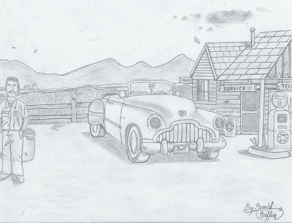 Gas Station Drawing -  A Gas Station Days The Of Past by Gerald Griffin