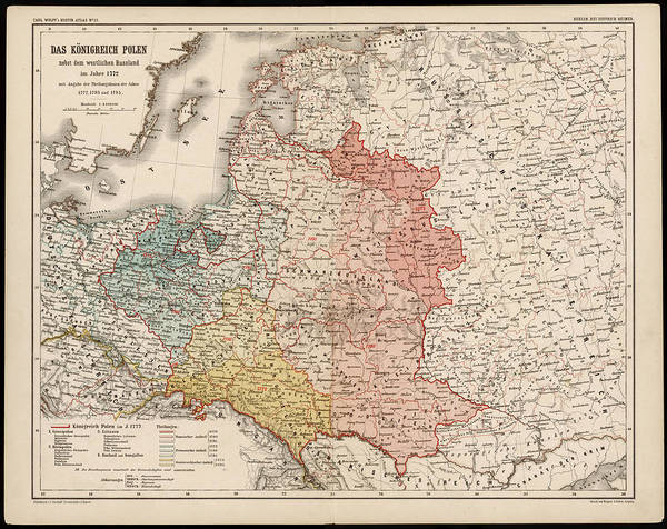Wall Art - Drawing -  A German Map Of Poland And Its by Mary Evans Picture Library