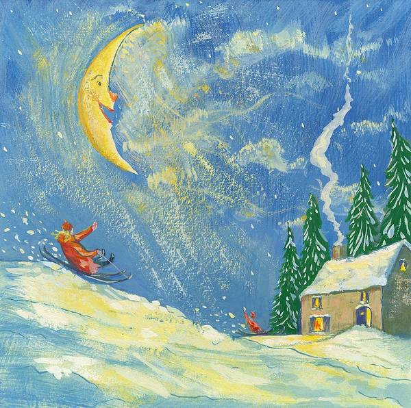 Sledge Wall Art - Painting -  A Happy Christmas by David Cooke
