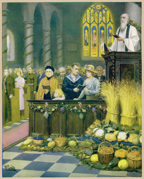 Wall Art - Drawing -  A Harvest Festival Service In  An by Mary Evans Picture Library