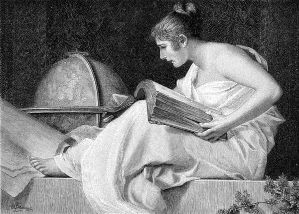 Wall Art - Drawing -  A Lady With Her Feet Up Reads  A Heavy by Mary Evans Picture Library