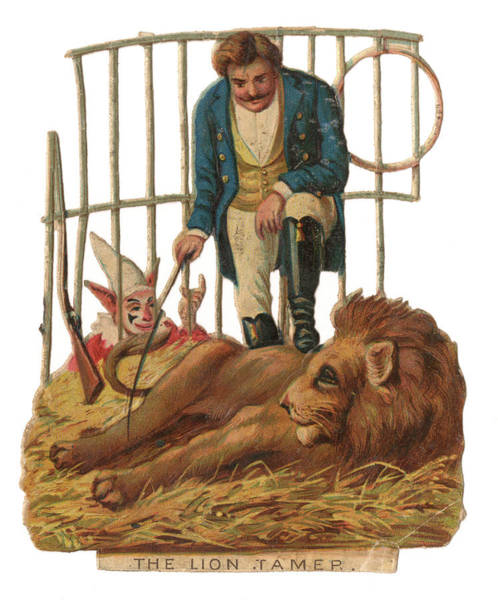 Wall Art - Drawing -  A Lion Tamer Stands With One  Foot by Mary Evans Picture Library