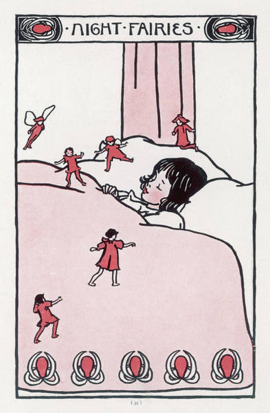 Folklore Drawing -  A Little Girl Sleeps Soundly  While by Mary Evans Picture Library