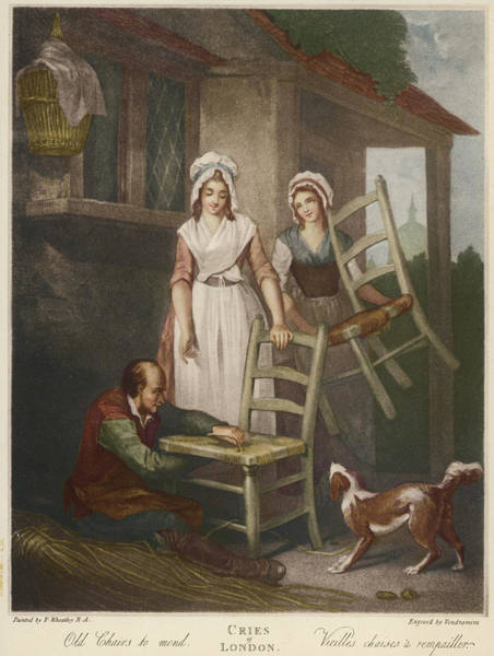 Wall Art - Drawing -  A Man Mends A Chair For Two  Women by Mary Evans Picture Library