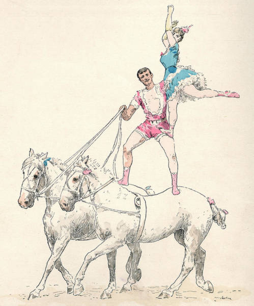 Wall Art - Drawing -  A Man Rides Two Horses  Simultaneously by Mary Evans Picture Library