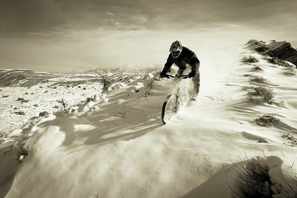 Wall Art - Photograph -  A Man Riding His Mountain Bike by Whit Richardson