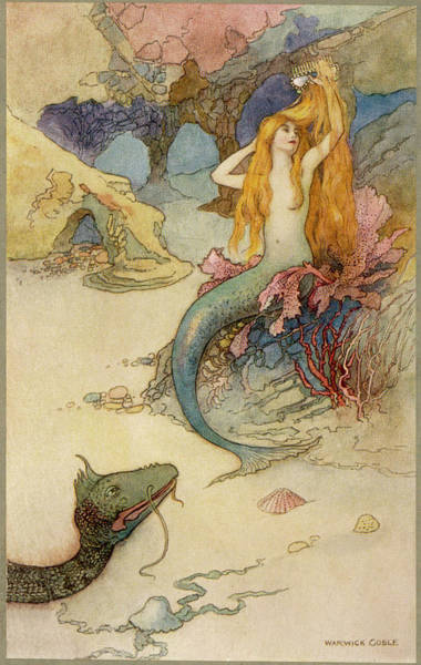 Folklore Drawing -  A Mermaid Combing Her Hair by Mary Evans Picture Library