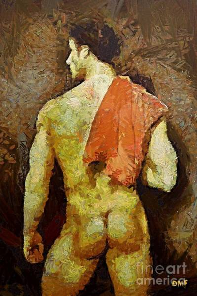 Bodybuilder Painting -  A Nonchalant Man by Dragica  Micki Fortuna