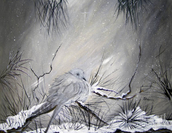 Pine Needles Painting -  A Peaceful Christmas Morning by Sharon Burger