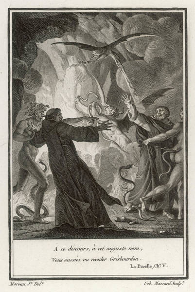 Folklore Drawing -  A Priest Is Assailed By Demons by Mary Evans Picture Library