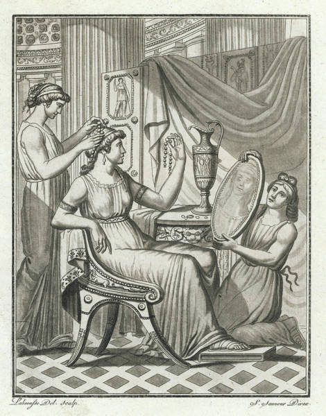 Hairdo Drawing -  A Roman Lady Has Her Hair Done by Mary Evans Picture Library