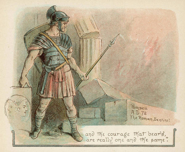 Roman Soldier Drawing -  A Roman Sentinel In Pompeii,  A Few by Mary Evans Picture Library