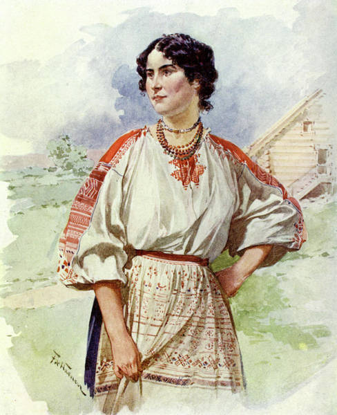Wall Art - Drawing -  A Servant Woman In A Summer Dress by Mary Evans Picture Library