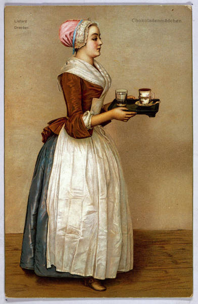 Wall Art - Drawing -  A Serving Maid Carries A  Cup by Mary Evans Picture Library