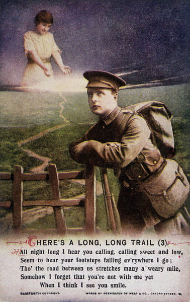 Wall Art - Drawing -  A Soldier A Long Way From Home  Thinks by Mary Evans Picture Library