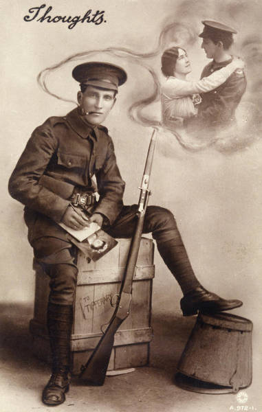 Wall Art - Photograph -  A Soldier Thinks Of The Girl He's Left by Mary Evans Picture Library