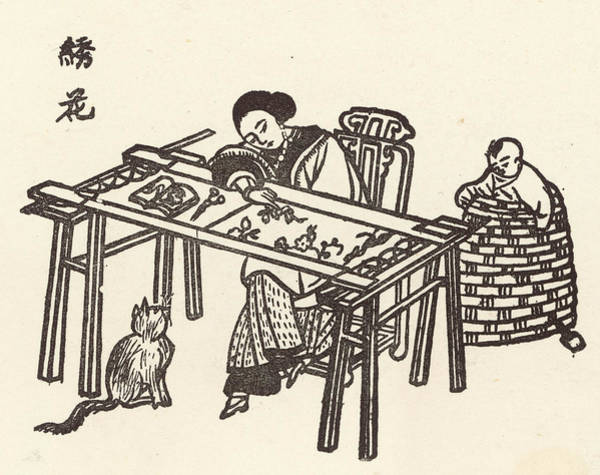 Wall Art - Drawing -  A Woman Embroidering Silk  While by Mary Evans Picture Library