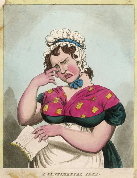 Wall Art - Drawing -  A Woman Reduced To Tears On Reading by Mary Evans Picture Library