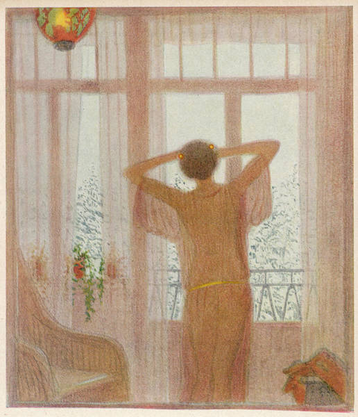Twilight Drawing -  A Woman Stands At The Window by Mary Evans Picture Library