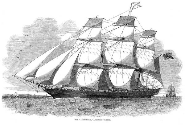 Wall Art - Drawing -  Aberdeen-built Clipper          Date by  Illustrated London News Ltd/Mar