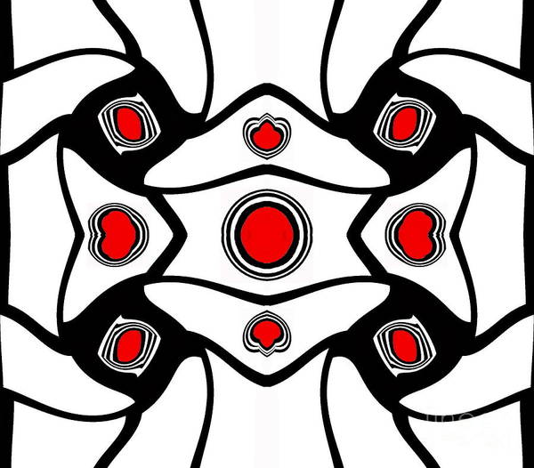 Digital Art - Abstract Geometric Black White Red Art No. 380. by Drinka Mercep