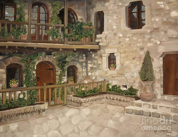 Greek Courtyard - Agiou Stefanou Monastery -balcony Art Print