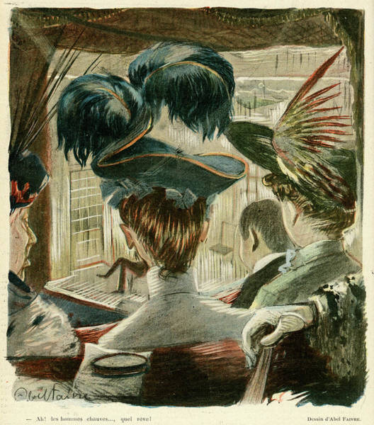 Wall Art - Drawing -  - Ah, To Sit Behind A Man With  A Bald by Mary Evans Picture Library