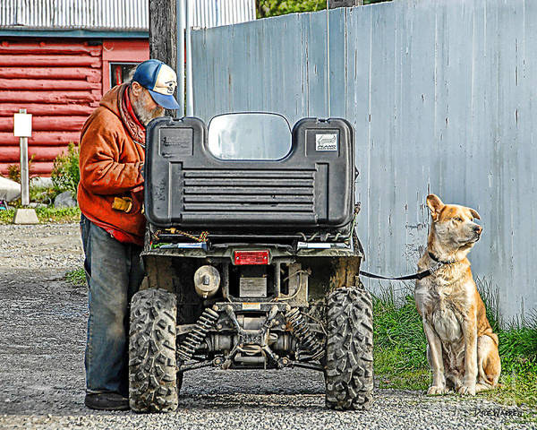 Four Wheeler Photograph -  Old Alaskan And His Dog by Dyle   Warren