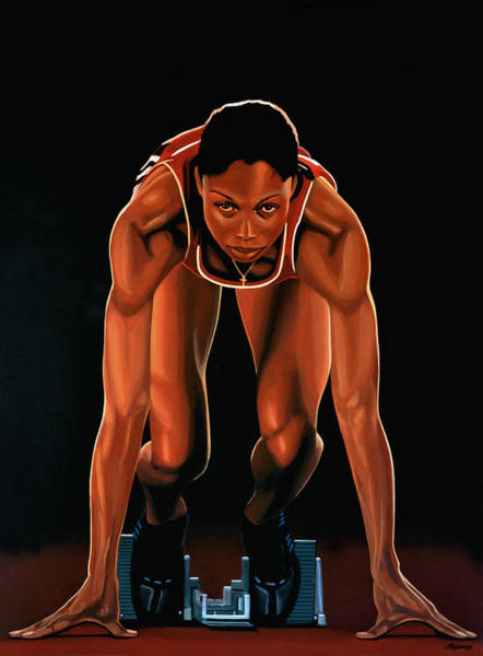 Silver Painting -  Allyson Felix Painting  by Paul Meijering