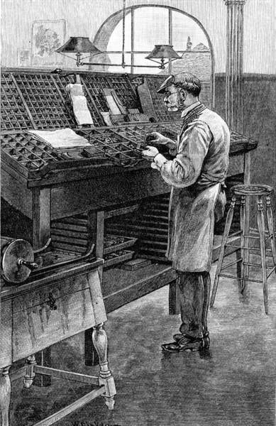 Wall Art - Drawing -  An American Compositor At Work by Mary Evans Picture Library