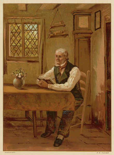 Wall Art - Drawing -  An Old Man Reading The Bible  At Home by Mary Evans Picture Library