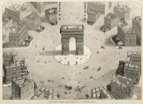 Wall Art - Drawing -  Arc De Triomphe At The Centre by Mary Evans Picture Library