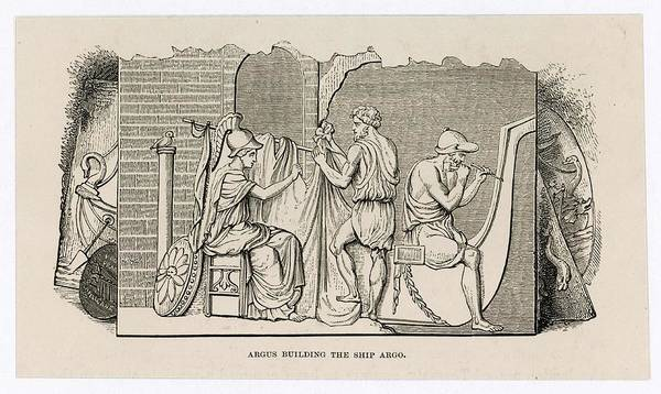 Wall Art - Drawing -  Argus Builds The 'argo' In  Which by Mary Evans Picture Library