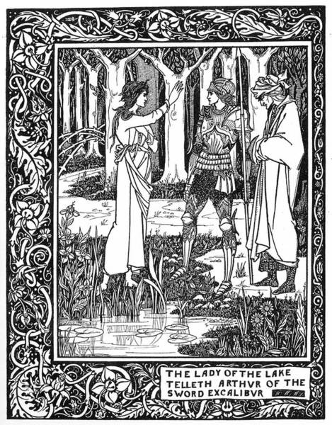 Beardsley Drawing -  Arthur Learns Of The Sword Excalibur by Mary Evans Picture Library