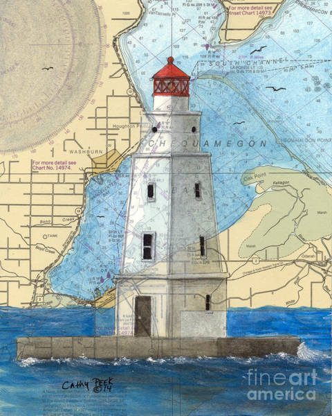 Wall Art - Painting -  Ashland Breakwater Lighthouse Wi Cathy Peek Nautical Chart Map Art by Cathy Peek