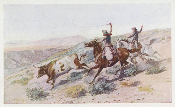 Montana Drawing -  At Work On The Big Dry, Montana by Mary Evans Picture Library