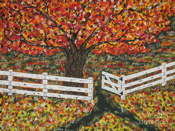 Wall Art - Painting -   Autumn At The White Fence Farm by Jeffrey Koss