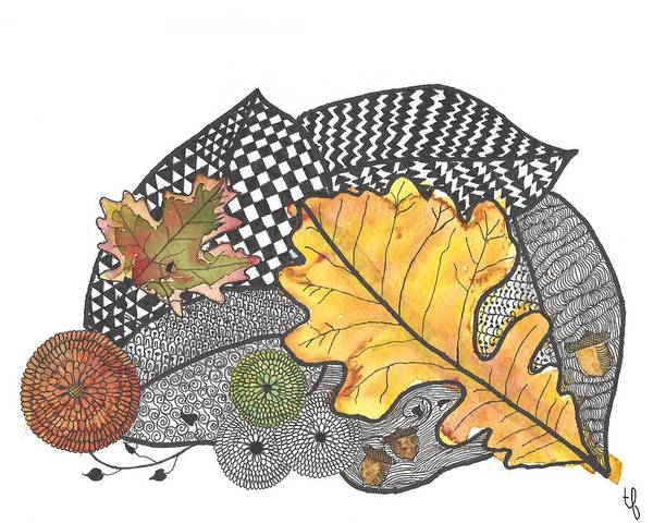Tangle Painting -  Autumn Leaves by Terry Fleckney